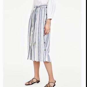 Zara | Tie Front Striped Linen Skirt w/ Buttons M